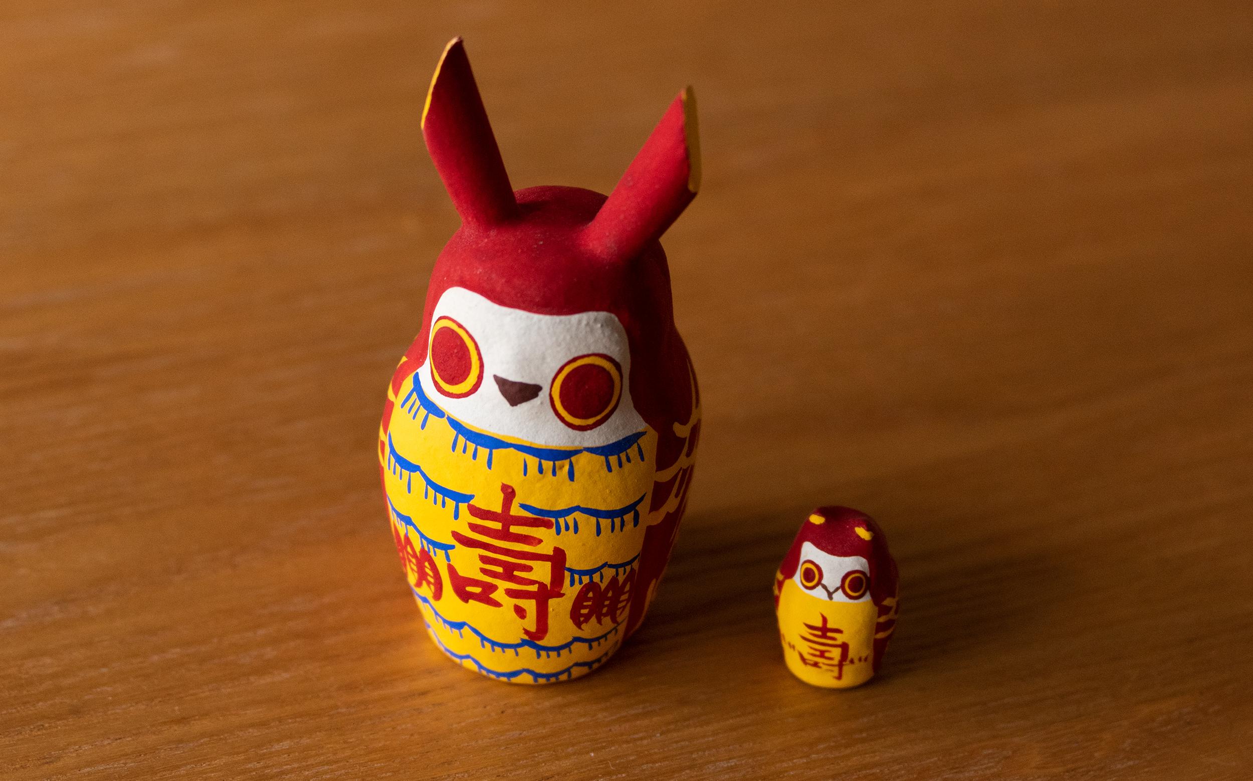 赤みみずく:江戸東京博物館蔵 歌川国芳の版画を玩具にしたもの